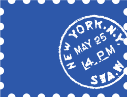 Blue stamp shape with customs stamp