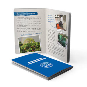 Closed booklet and open booklet showing sustainable practices page
