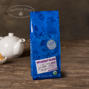 Bag of 10 ounce of Organic Breakfast Blend coffee on a wooden table