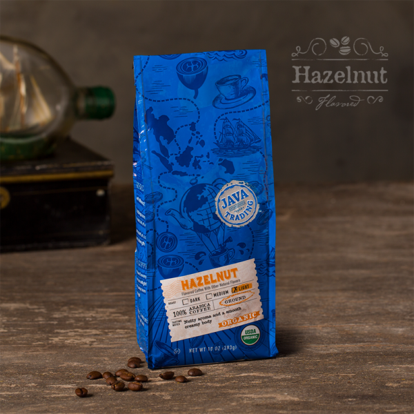 Bag of 10 ounce of Organic Hazelnut flavored coffee on a wooden table
