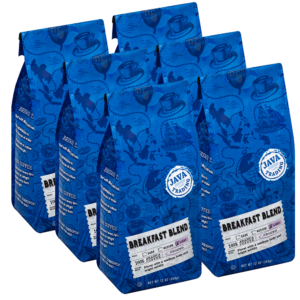 6 blue bags of Java Trading Breakfast Blend coffee organized in two rows