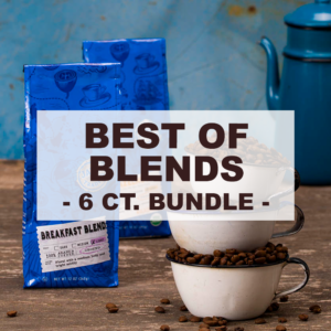 """multiple blue packages of coffee and enamel mugs filled with roasted beans with overlay of word """"best of blends 6 count bundle"""""""