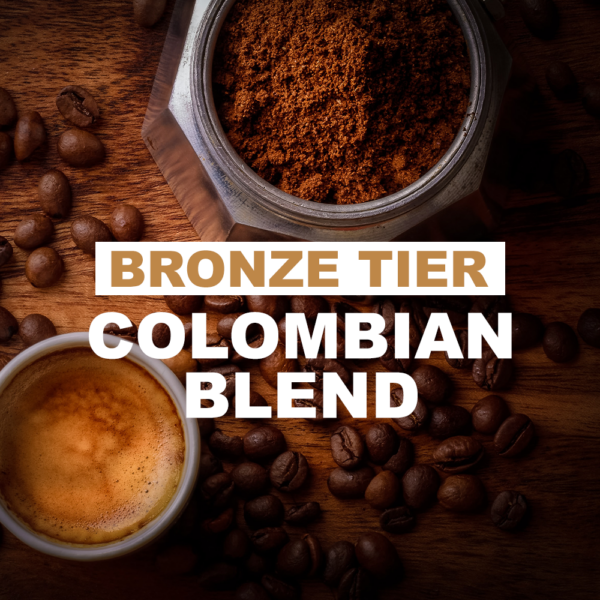 """white coffee cup with latte and ground coffee container with overlay of word """"bronze tier Colombian blend"""""""