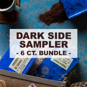 """multiple blue packages of coffee with overlay of word """"dark side sampler 6 count bundle"""""""