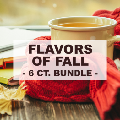 """white cup of coffee wrapped by red scarf with overlay of word """"flavors of fall 6 count bundle"""""""