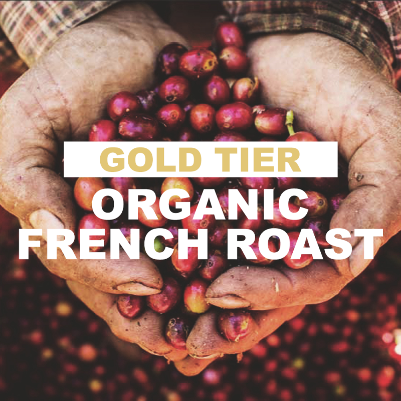 """farmer hands cupping red coffee cherries with overlay of word """"gold tier organic French Roast"""""""