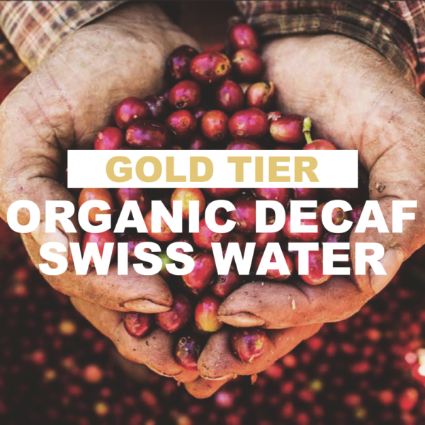 """farmer hands cupping red coffee cherries with overlay of word """"gold tier organic decaf swiss water"""""""