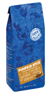 Blue bag of Java Trading pumpkin spice flavored ground coffee 12 ounce