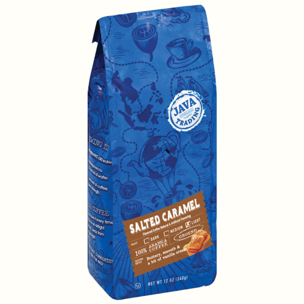 Blue Bag of Salted Caramel Flavored ground coffee, 12 ounce