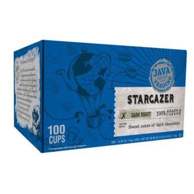 Blue Box of 100 single serve cups Stargazer coffee, dark roast