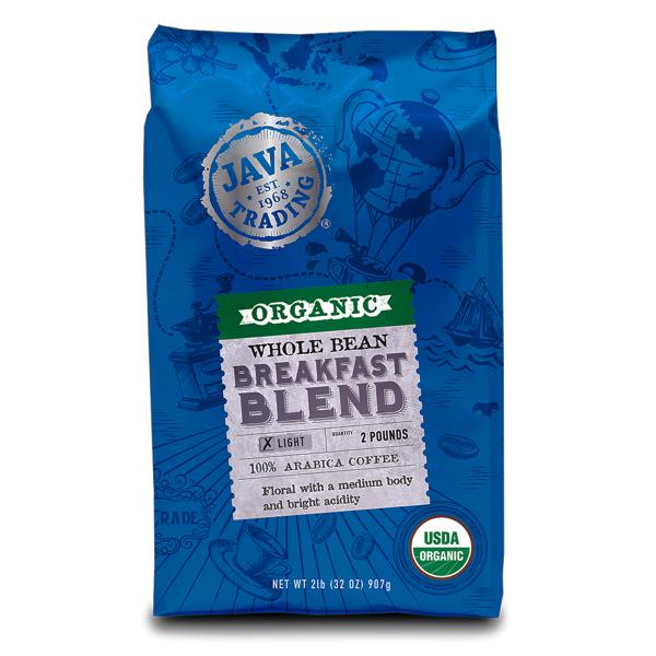 2 lb. blue bag of Organic Java Trading Breakfast Blend