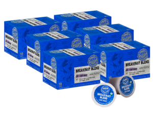 6 blue boxes of Java Trading Organic Breakfast Blend k-cups organized in two rows