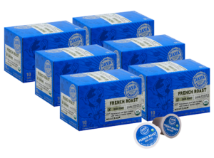 6 blue boxes of Java Trading Organic French Roast k-cups organized in two rows