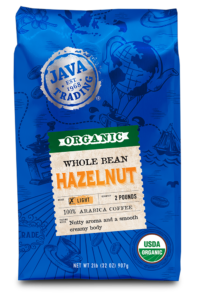 Blue bag of Java Trading organic hazelnut flavored whole bean coffee 32 ounce