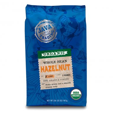 2 Lb Blue bag of Java Trading Hazelnut favorite coffee
