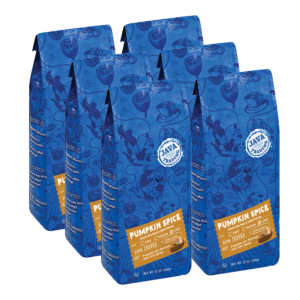 6 blue bags of Java Trading Pumpkin Spice flavored coffee organized in two rows