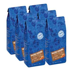 6 blue bags of Java Trading Salted Caramel flavored coffee organized in two rows
