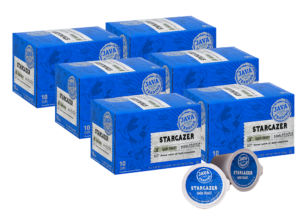 6 blue boxes of Java Trading Stargazer k-cups organized in two rows