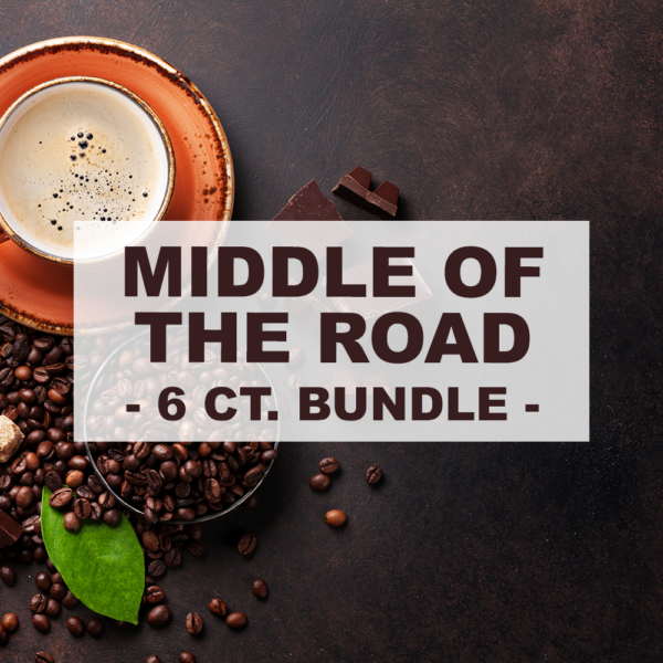 """orange cup of coffee and roasted coffee beans and chocolate with overlay of word """"middle of the road 6 count bundle"""""""