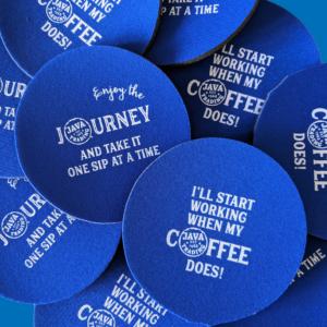 Multiple blue coasters