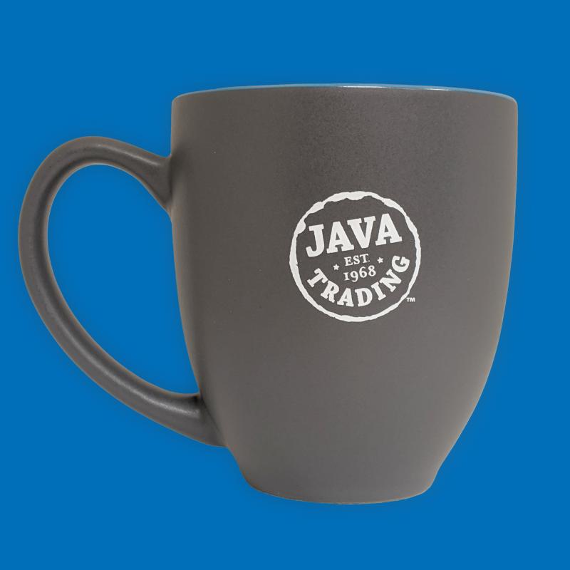Dark grey ceramic mug, with white Java Trading logo on a blue background
