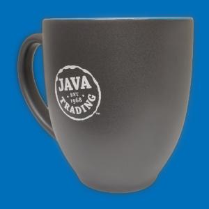 Dark grey ceramic mug with white Java Trading logo on a blue background