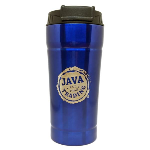 Blue Java Trading Tumbler with logo and black flip cap