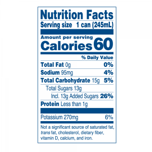 Nutritional Info for Java Trading Peak High caffeine coffee sweetened. Serving size: 1 can, calories: 60, total fat: 0g, Sodium: 95 mg., Total Carbohydrate 15 g., Total Sugars: 13 g. included 13 g. of added sugar; Protein: less than 1 g. Potassium 270 mg. Not a significant source of saturated fat, trans fat, cholesterol, dietary fiber, vitamin D, calcium and iron.